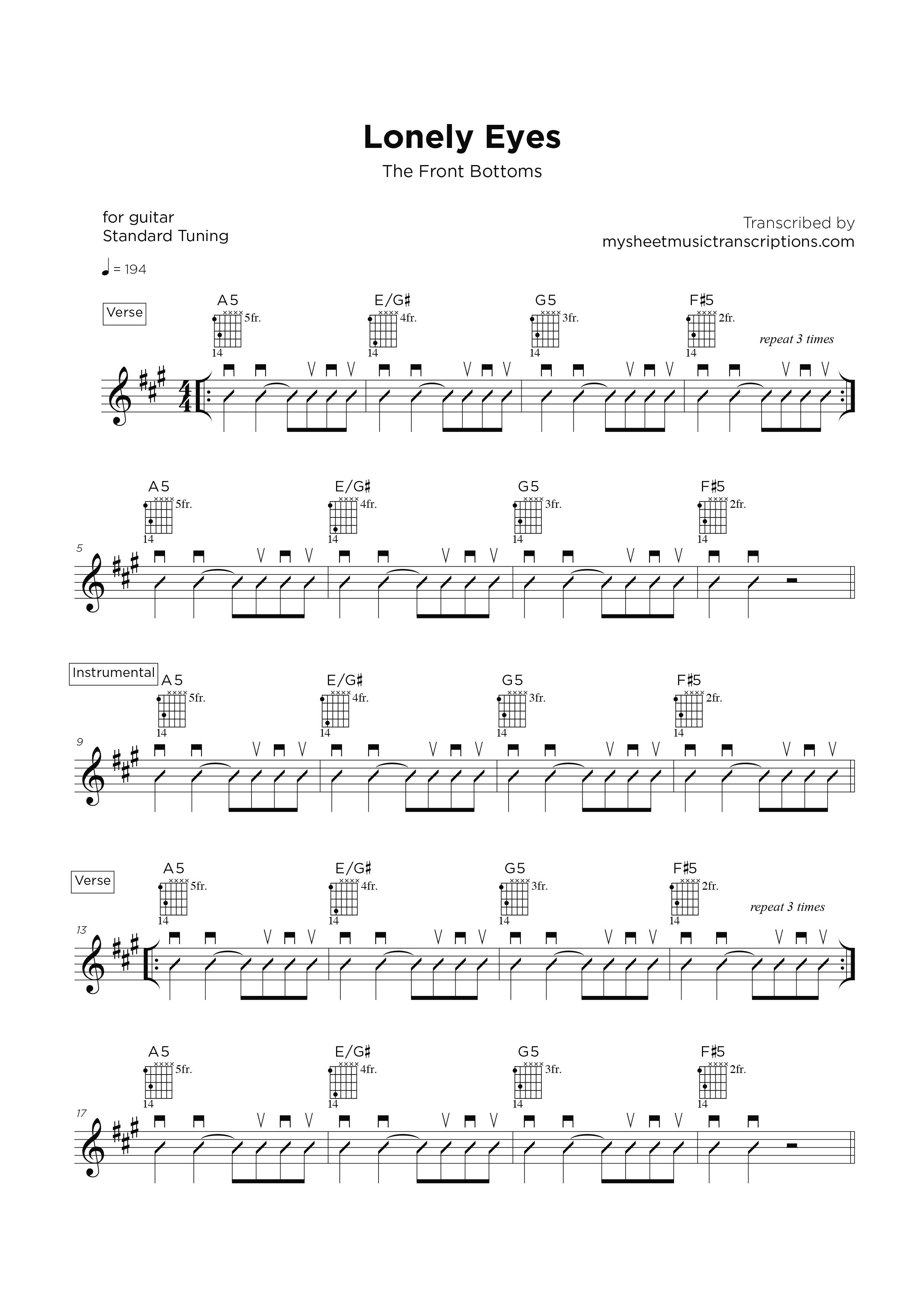 Lonely Eyes - Transcripción de partitura para guitarra
