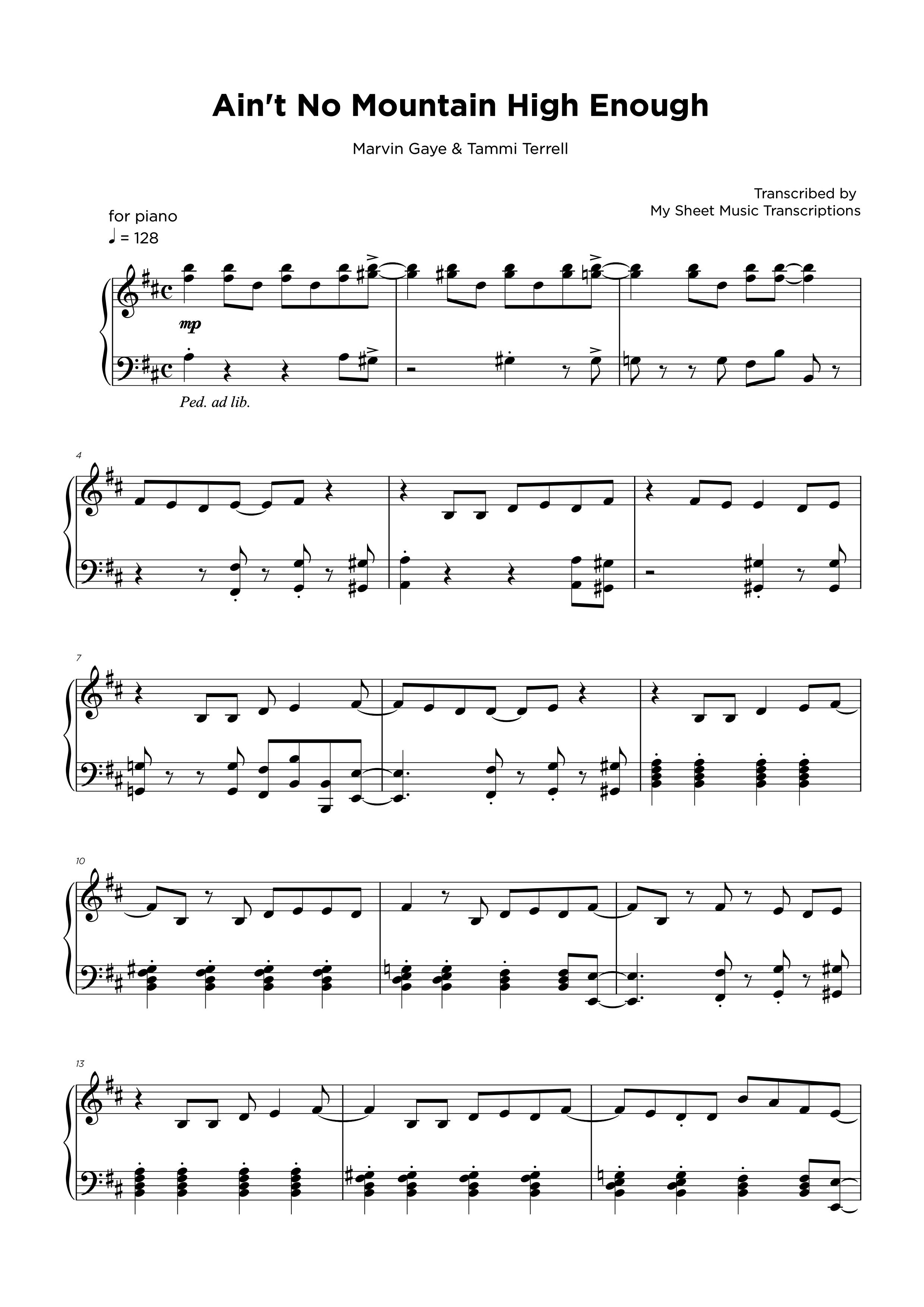 Ain't no mountain high enough - Transcripción de partitura para piano