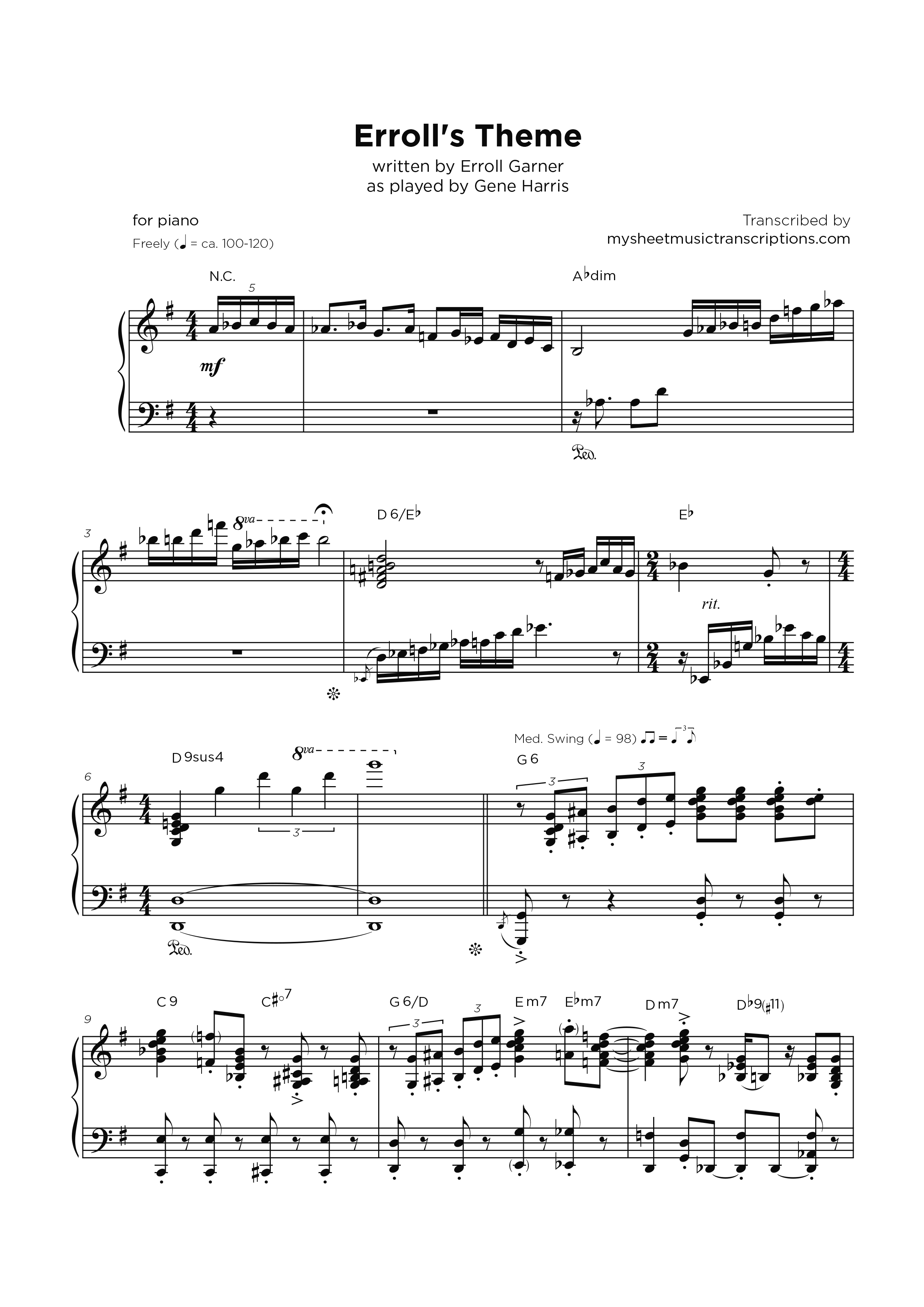 Erroll's Theme as played by Gene Harris - Transcripción de partitura para piano jazz