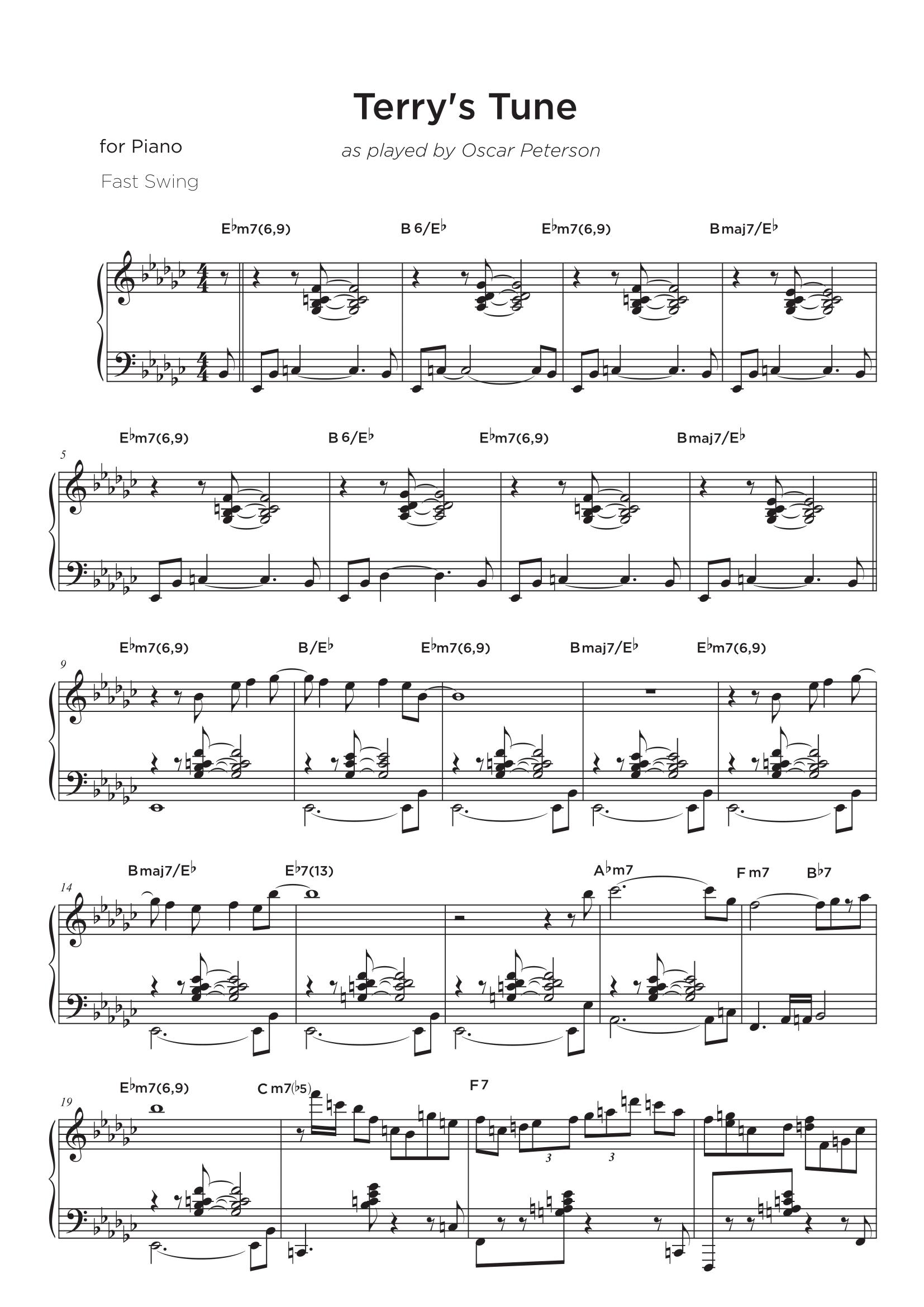 Terry's Tune (as played by Oscar Peterson) - Transcripción de partitura para piano jazz