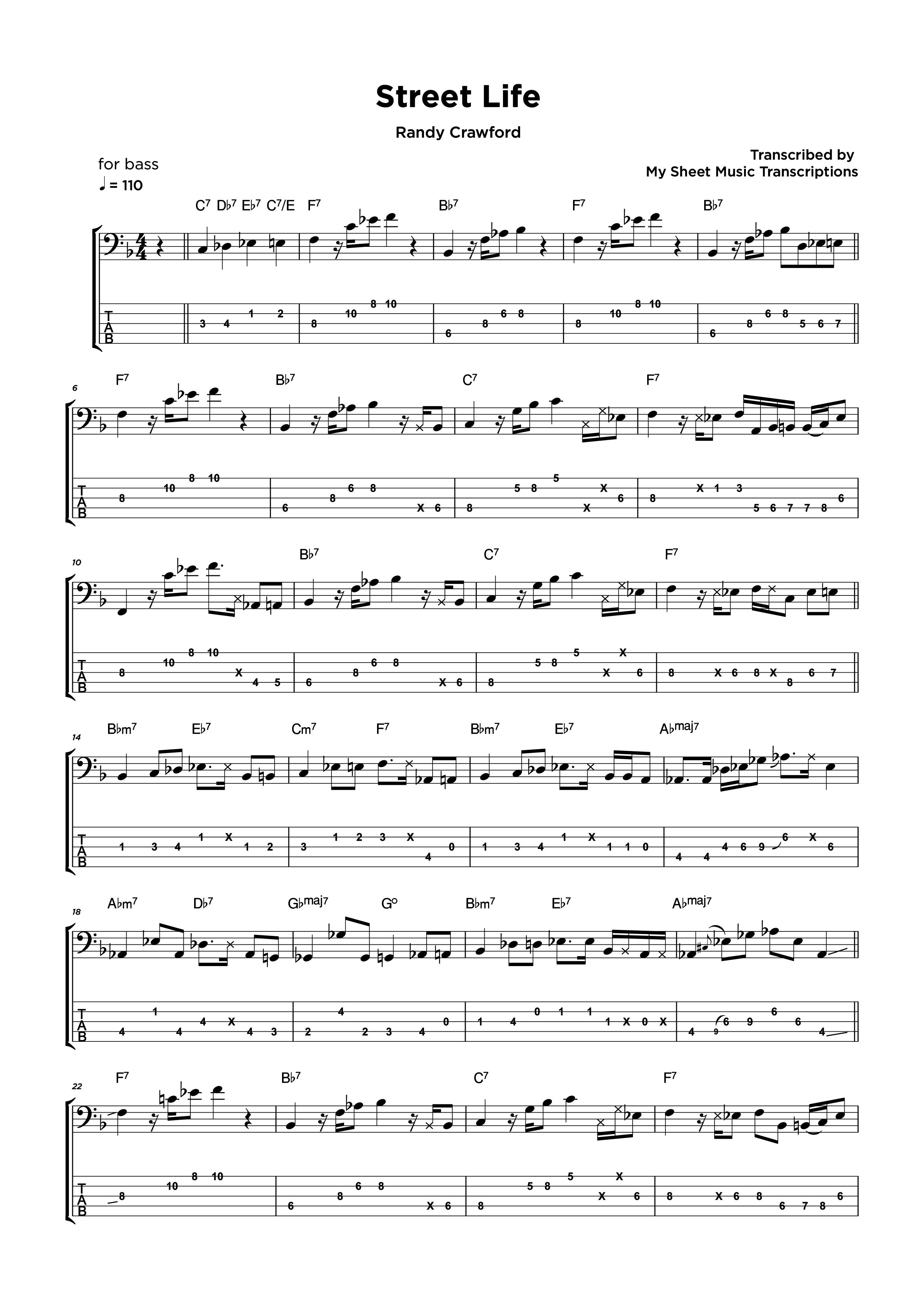 Street Life - Randy Crawford - Transcripción de partitura para bajo