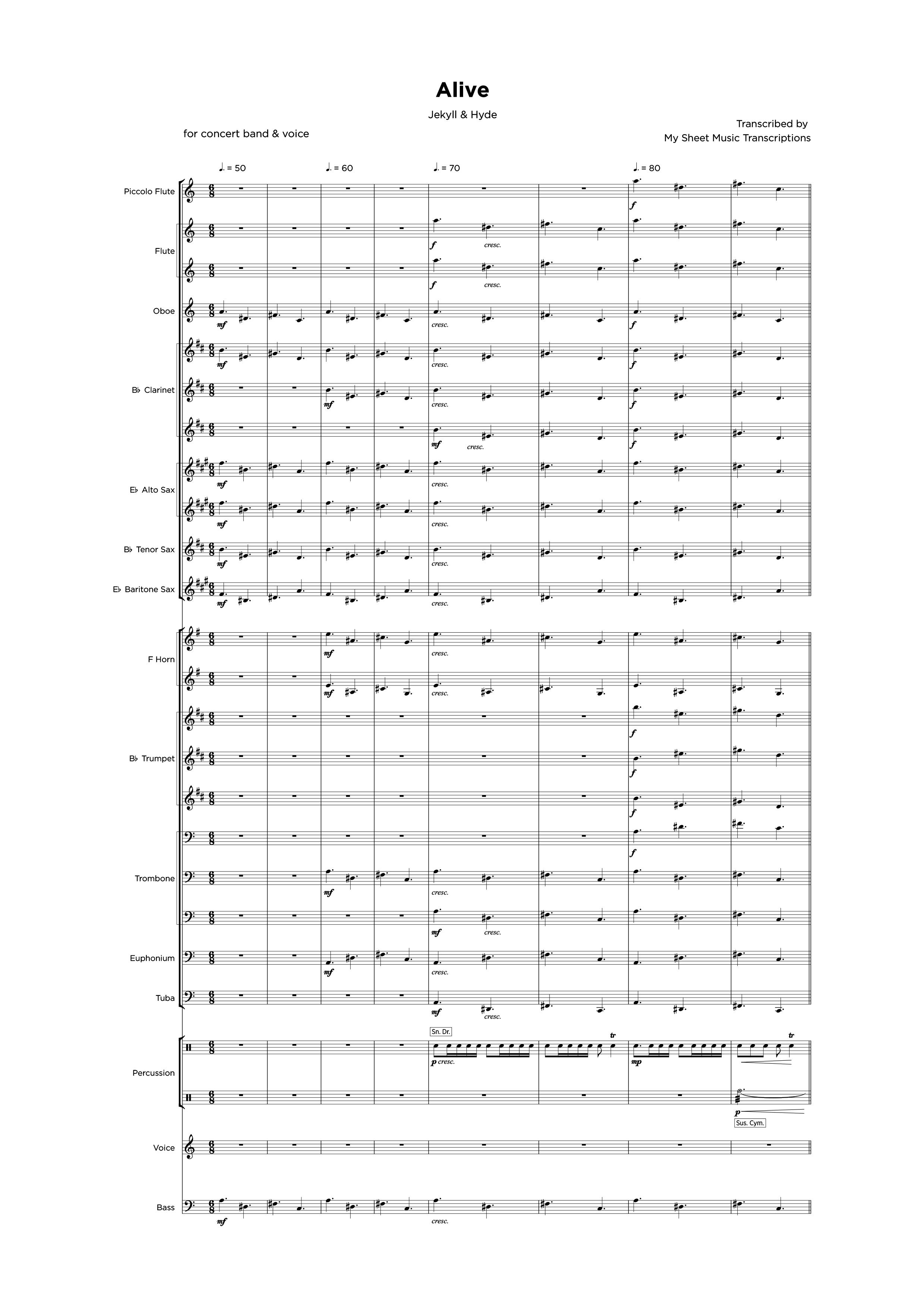 Alive - Jekyll & Hyde - Transcripción de partitura para bandas