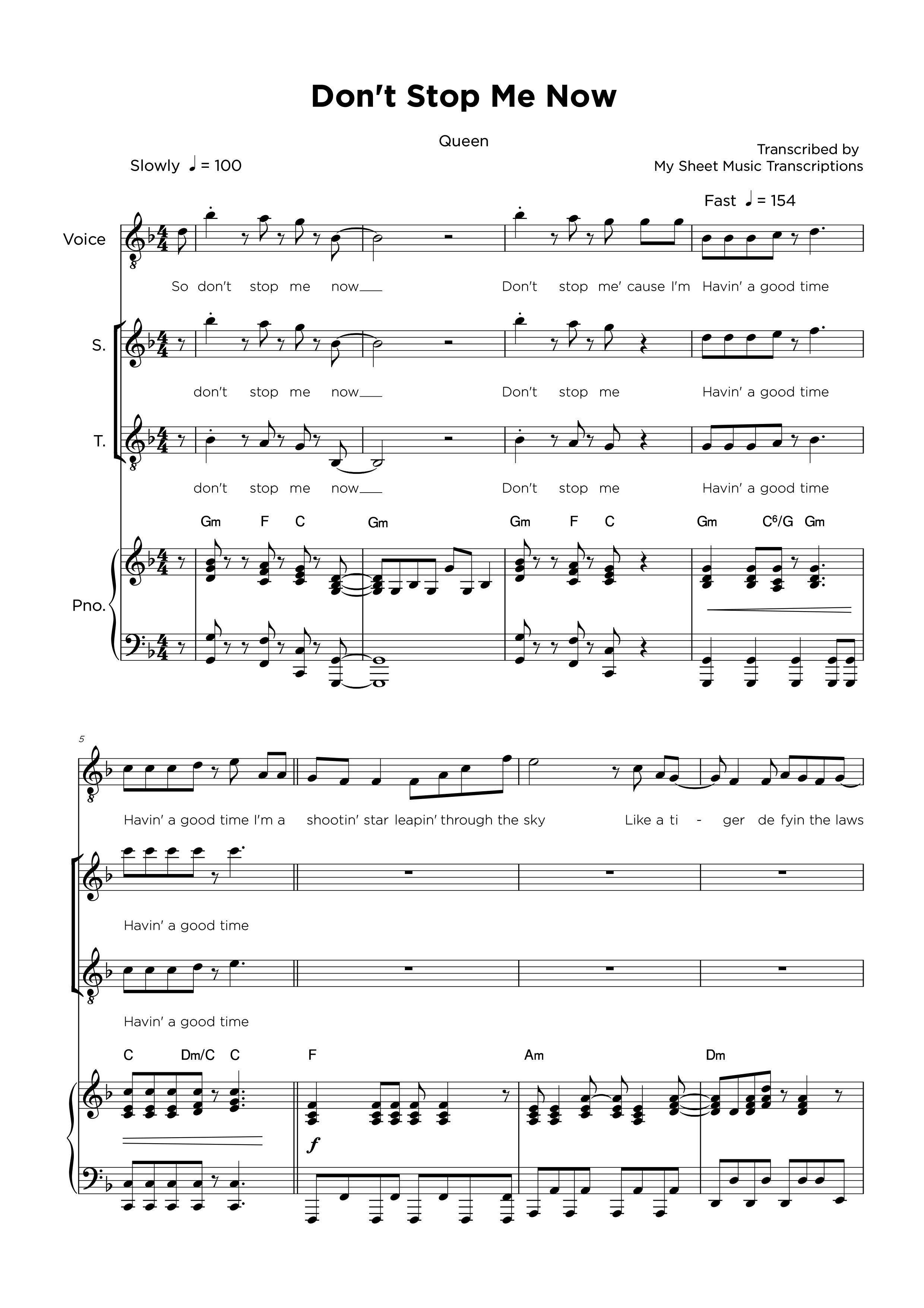 Don't Stop Me Now - Queen - Partitura para piano y vocal