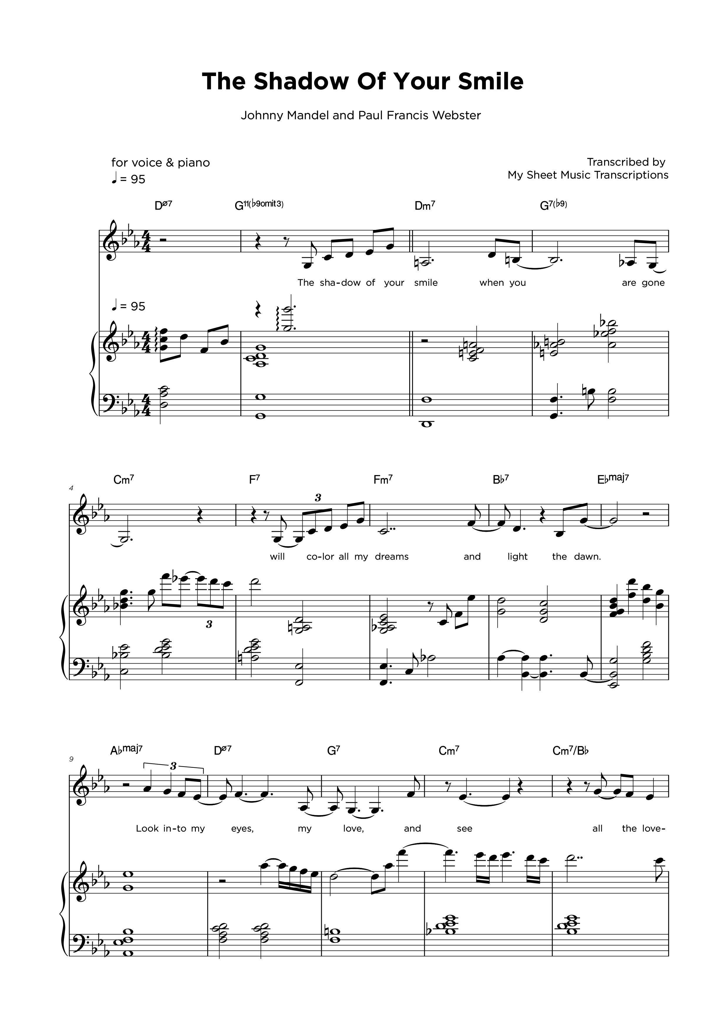 The Shadow of your smile - Partitura para piano y vocal