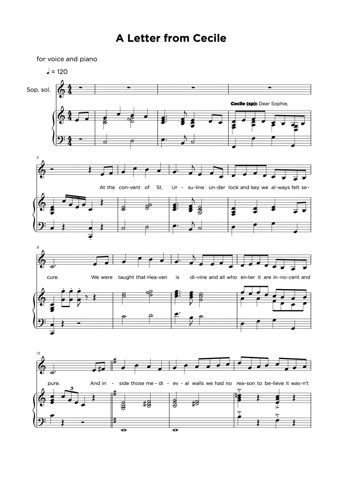 A letter from cecile - Partitura para piano y vocal